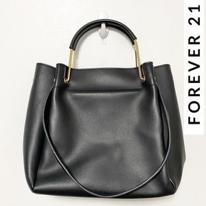Faux Leather Black & Gold Shoulder Bag